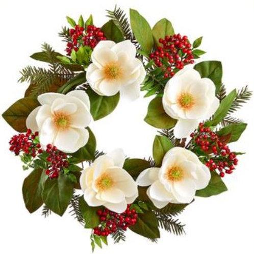 "Magnolia Berry Pine Wreath 24"", White Red"