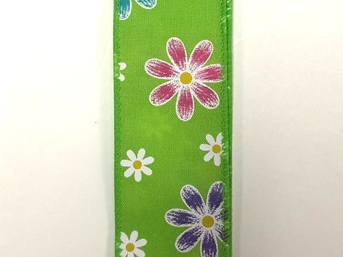 """Spring Daisies, Lime 1.5""""x50YDS"""