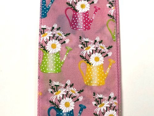 """Watering Can Flowers, Pink 2.5""""x50YDS"""