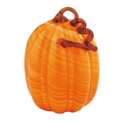 "Glass Pumpkin Orange 11""H"