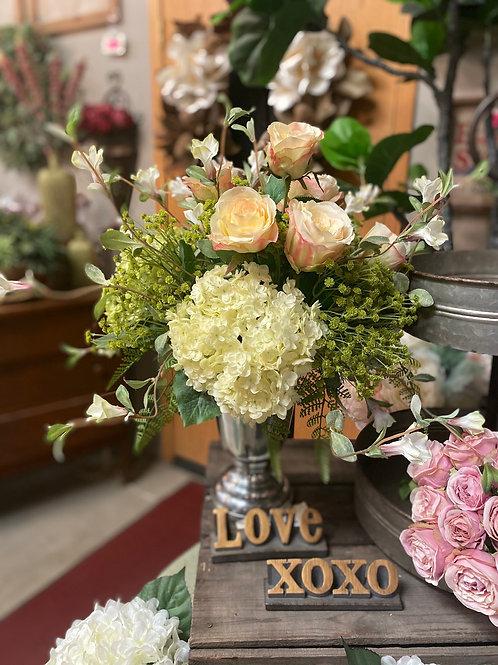 "Hydrangea/Rose/Petunia in Pedestal Vase 21""H"