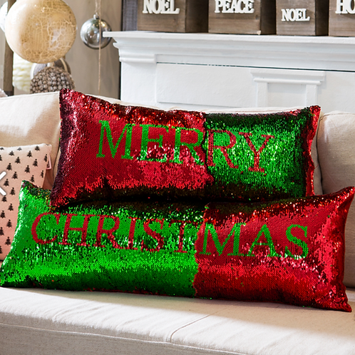 """Sequin Merry Pillow  Red Green 24""""L"""