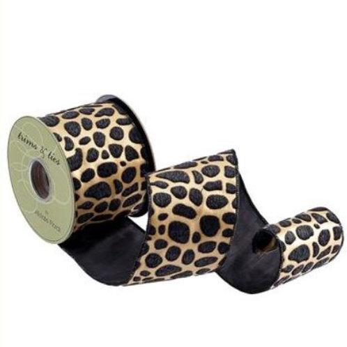 "Leopard Print Ribbon 4""x10YDS, Black Brown"