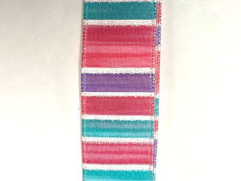"""Stripes and Lines, Teal 1.5""""x10YDS"""
