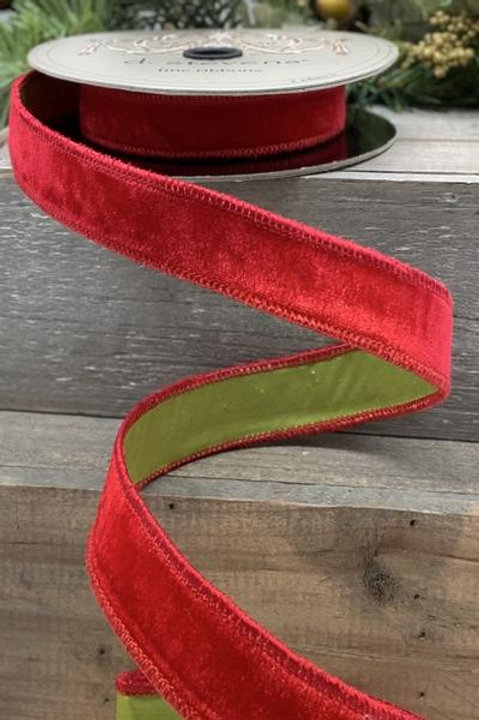 "Velvet with Taffeta, Red/Green 1""x10YDS"
