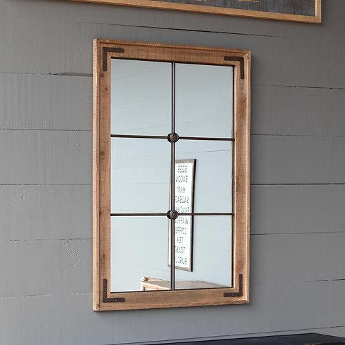 Wooden Framed Warehouse Window Mirror