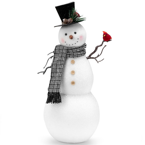 "Snowman Holding Cardinal 18.5"""