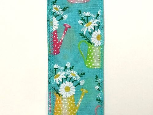 """Watering Can Flowers, Teal 1.5""""x50YDS"""