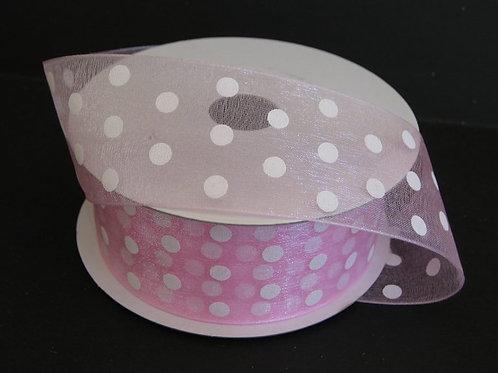 "Pink Sheer White Dots, 1.5""x25YDS"
