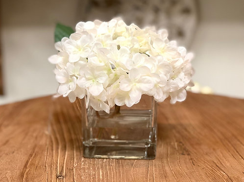 """Hydrangea with Water Illusion in Glass Vase 7""""H"""