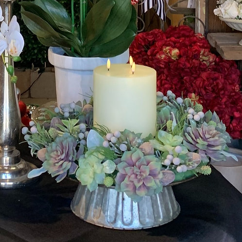 "Echeveria/Leucadendron/Brunia Wreath 18"""