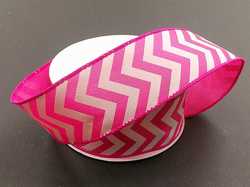 "Chevron, Fuchsia White 1.5""x25YDS"