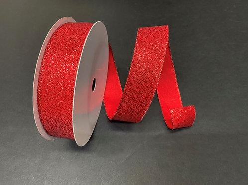 "GLITTERED SATIN RED 1.5""x50YDS $16.90"