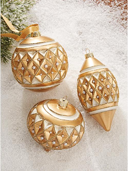 "Gold Diamond Point w/ Pearls Ornament 4"""