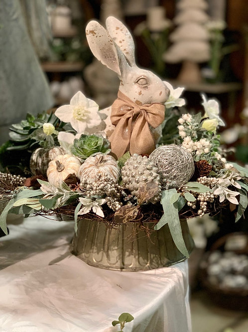 "Glittered Bunny  Antique Beige 16"""
