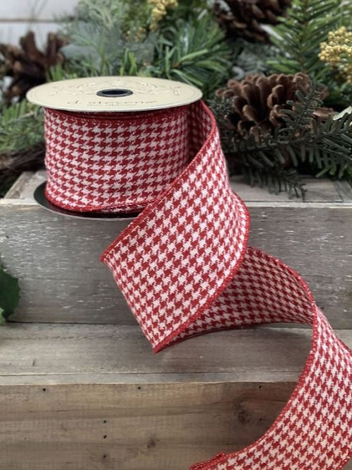 """Faux Wool Houndstooth Red 2.5""""x10yd"""