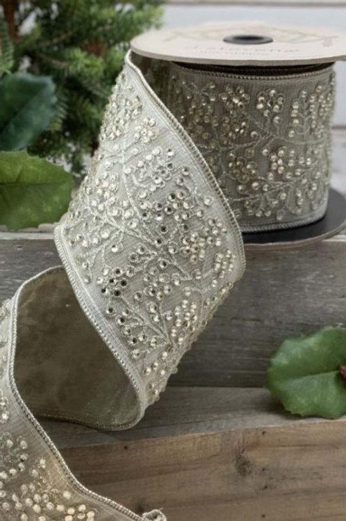 "Tissue Silk Crystal Branch Trim Platinum 3.5""x5yd"