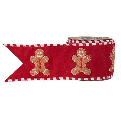 """Gingerbread Wired Ribbon 4"""" x 10 Yds"""