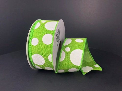 """Dots, Lime White 1.5""""x10YDS"""