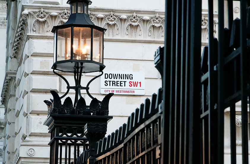Downing Street's sign in Westminster. Do
