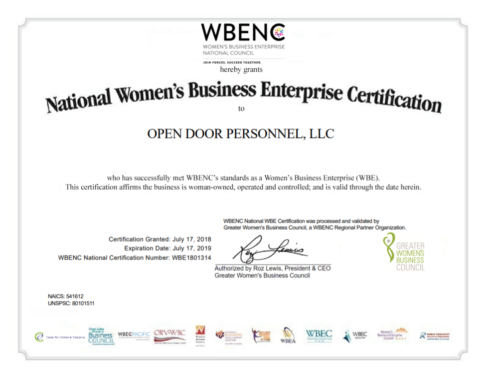 National Women's Business Enterprise Certification - Open Door Personnel