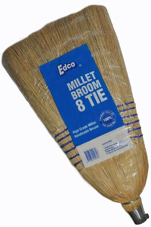 EDCO 8 TIE MILLET BROOM WITH HANDLE