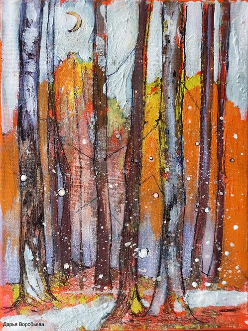Первый снежок в лесу. 18*24, холст