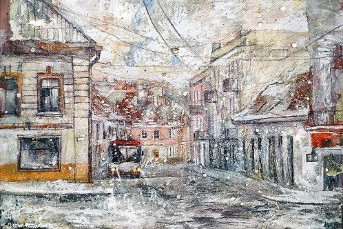 Зимний Вильнюс. 50*70, холст