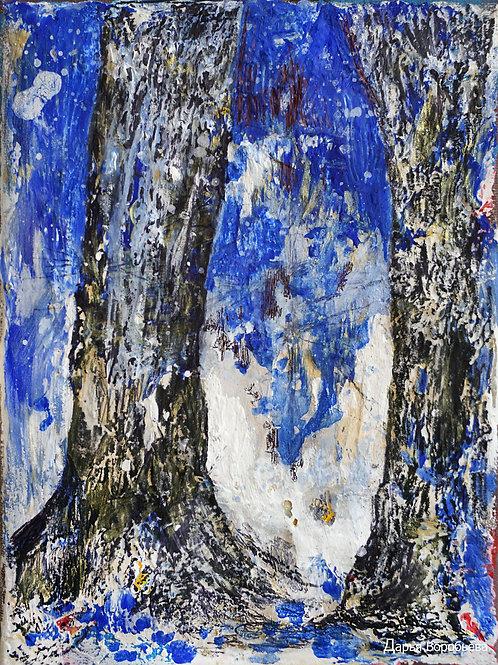 Синий лес. 20*15, холст