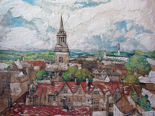 Вид старого города Англии. 60*80, бумага