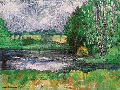 Озеро в лесу. Холст, 30*40