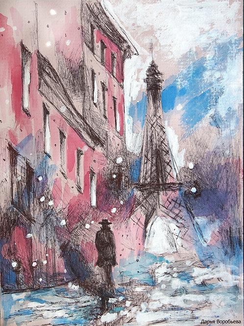 Незнакомец в Париже. 23*17, картон
