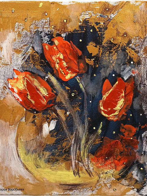 Вечерние тюльпаны. 30*25, холст