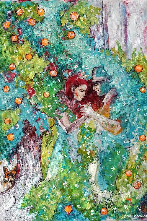 Танец цветущих апельсинов. 35*25, холст
