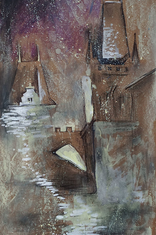 Туманный Карлов мост. 47*25,картон
