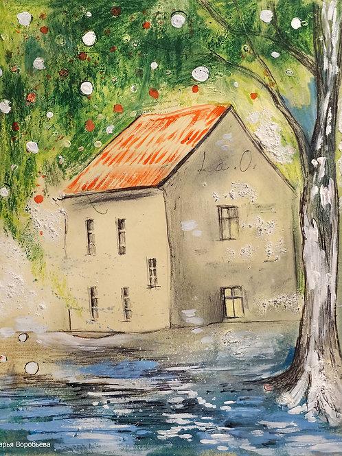 Старый Чешский домик. 24*29, картон
