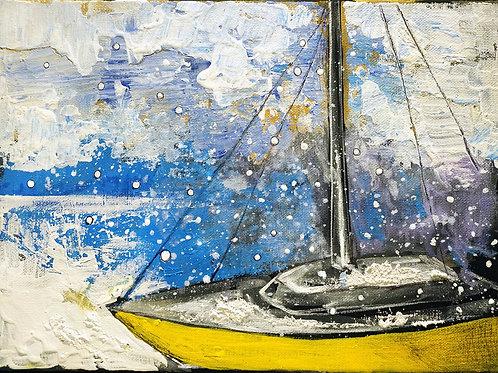 Желтый кораблик. 25*35, холст