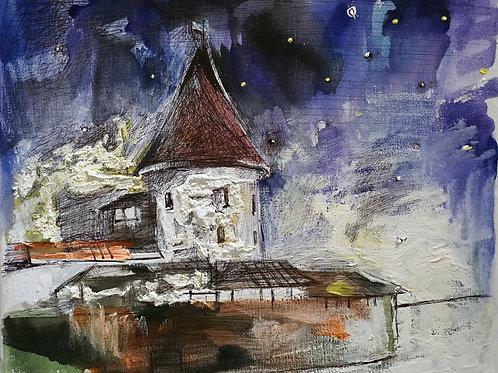 Вечер в Каунасе. 25*30, холст