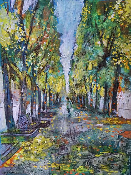 Осенний парк в Каунасе. 30*40, холст