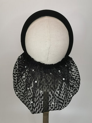Black velvet and lace with pearls half snood
