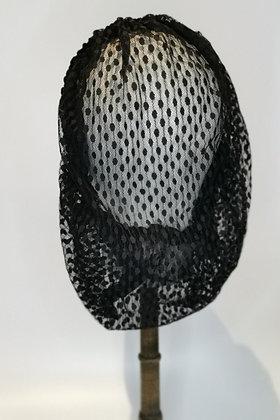 Black polka dot lace full snood with matching velvet