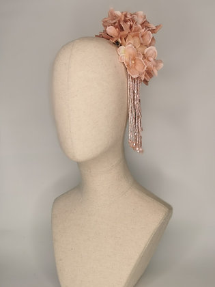 Dusky rose hydrangea, matching acrylic flower with crystal effect detail