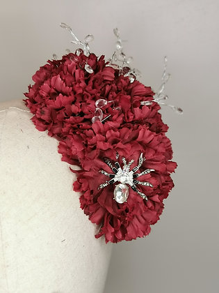 Burgundy carnations with clear acrylic wired droplets