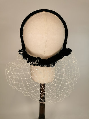 White merry widow lace half snood