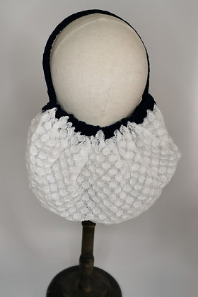 White polka dot lace half snood with navy velvet