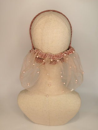 Dusky rose tulle with pearls and matching velvet trim half snood
