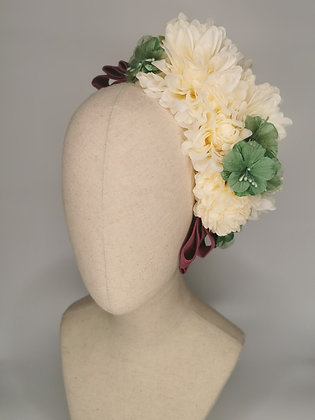 Ivory dahlias with sage mini hibiscus millinery flowers and purple velvet detail