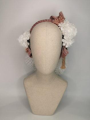 White polkadot lace snood set, white Carnation, dusky rose millinery