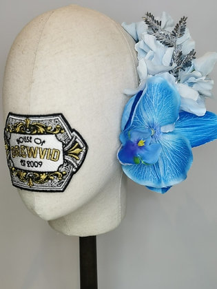 Sky blue hydrangea with tropical blue orchid