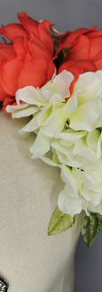 Coral Peony with whiCoral Peony with white hydrangea and green translucent leaveste hydrangea and